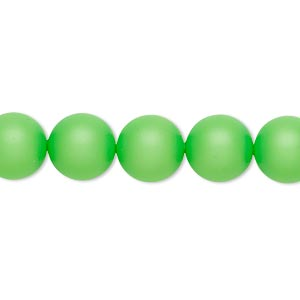pearl, swarovski crystals, neon green, 10mm round (5810). sold per pkg of 100.