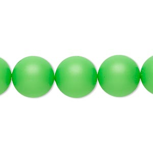 pearl, swarovski crystals, neon green, 12mm round (5810). sold per pkg of 100.