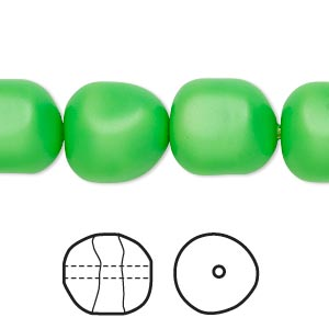 pearl, swarovski crystals, neon green, 14mm baroque (5840). sold per pkg of 50.