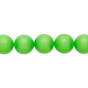 pearl, swarovski crystals, neon green, 16mm round with 1.3-1.5mm hole (5811). sold per pkg of 5.