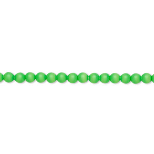 pearl, swarovski crystals, neon green, 3mm round (5810). sold per pkg of 100.