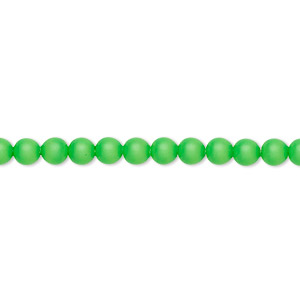 pearl, swarovski crystals, neon green, 4mm round (5810). sold per pkg of 500.