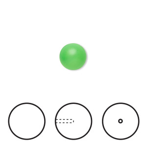 pearl, swarovski crystals, neon green, 8mm half-drilled round (5818). sold per pkg of 50.