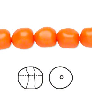 pearl, swarovski crystals, neon orange, 10mm baroque (5840). sold per pkg of 10.