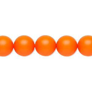 pearl, swarovski crystals, neon orange, 10mm round (5810). sold per pkg of 25.