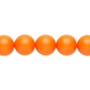 pearl, swarovski crystals, neon orange, 10mm round with 1.3-1.5mm hole (5811). sold per pkg of 25.