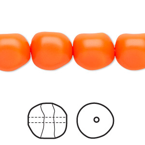 pearl, swarovski crystals, neon orange, 12mm baroque (5840). sold per pkg of 10.