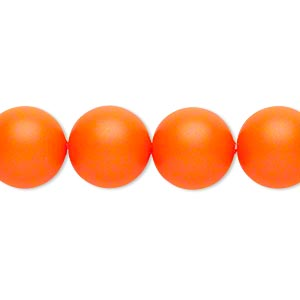 pearl, swarovski crystals, neon orange, 12mm round (5810). sold per pkg of 10.