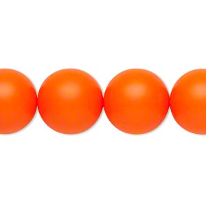 pearl, swarovski crystals, neon orange, 14mm round with 1.3-1.5mm hole (5811). sold per pkg of 10.