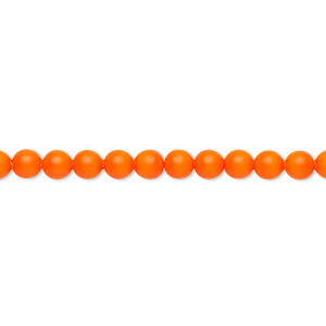 pearl, swarovski crystals, neon orange, 4mm round (5810). sold per pkg of 500.