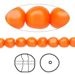 pearl, swarovski crystals, neon orange, 6mm baroque (5840). sold per pkg of 250.