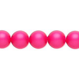 pearl, swarovski crystals, neon pink, 10mm round with 1.3-1.5mm hole (5811). sold per pkg of 25.