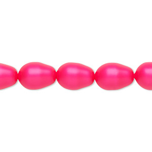pearl, swarovski crystals, neon pink, 11x8mm pear (5821). sold per pkg of 10.