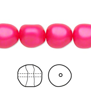 pearl, swarovski crystals, neon pink, 12mm baroque (5840). sold per pkg of 10.