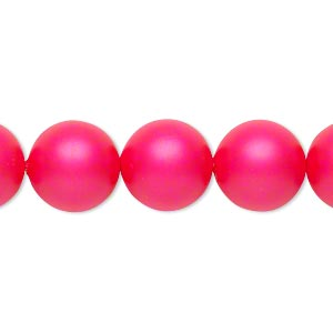 pearl, swarovski crystals, neon pink, 12mm round (5810). sold per pkg of 10.