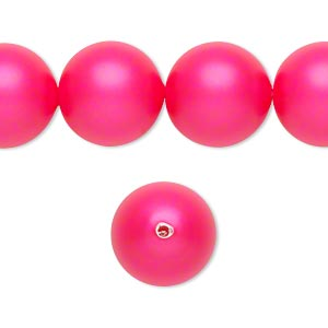 pearl, swarovski crystals, neon pink, 14mm round with 1.3-1.5mm hole (5811). sold per pkg of 50.