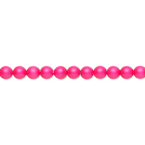 pearl, swarovski crystals, neon pink, 4mm round (5810). sold per pkg of 100.