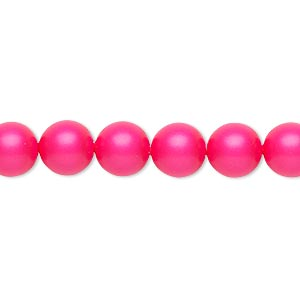 pearl, swarovski crystals, neon pink, 8mm round (5810). sold per pkg of 50.