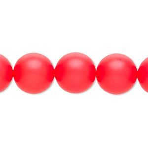 pearl, swarovski crystals, neon red, 12mm round (5810). sold per pkg of 10.