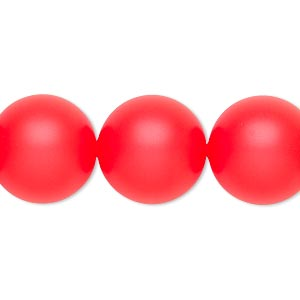 pearl, swarovski crystals, neon red, 16mm round with 1.3-1.5mm hole (5811). sold per pkg of 25.