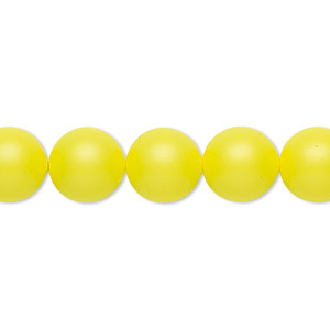pearl, swarovski crystals, neon yellow, 10mm round (5810). sold per pkg of 100.