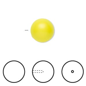 pearl, swarovski crystals, neon yellow, 12mm half-drilled round (5818). sold per pkg of 10.