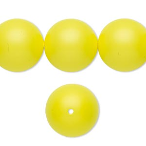 pearl, swarovski crystals, neon yellow, 16mm round with 1.3-1.5mm hole (5811). sold per pkg of 5.
