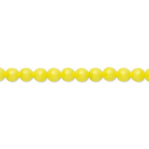 pearl, swarovski crystals, neon yellow, 4mm round (5810). sold per pkg of 500.