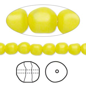 pearl, swarovski crystals, neon yellow, 6mm baroque (5840). sold per pkg of 250.