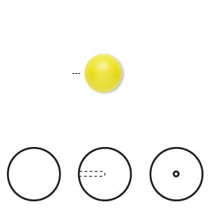 pearl, swarovski crystals, neon yellow, 8mm half-drilled round (5818). sold per pkg of 2.