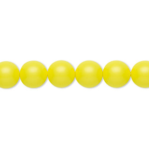 pearl, swarovski crystals, neon yellow, 8mm round (5810). sold per pkg of 250.