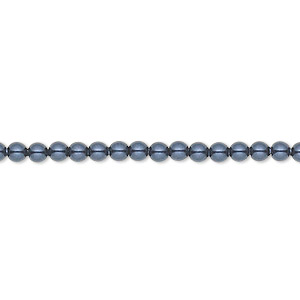 pearl, swarovski crystals, night blue, 3mm round (5810). sold per pkg of 100.
