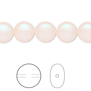 pearl, swarovski crystals, pearlescent white, 10mm coin (5860). sold per pkg of 100.