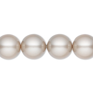 pearl, swarovski crystals, platinum, 12mm round (5810). sold per pkg of 100.