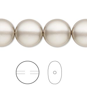 pearl, swarovski crystals, platinum, 14mm coin (5860). sold per pkg of 10.