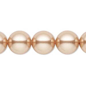 pearl, swarovski crystals, rose gold, 12mm round with 1.3-1.5mm hole (5811). sold per pkg of 100.