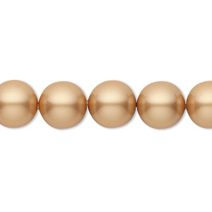 pearl, swarovski crystals, vintage gold, 10mm round (5810). sold per pkg of 25.