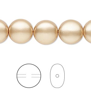 pearl, swarovski crystals, vintage gold, 12mm coin (5860). sold per pkg of 100.