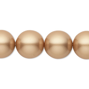 pearl, swarovski crystals, vintage gold, 14mm round with 1.3-1.5mm hole (5811). sold per pkg of 50.