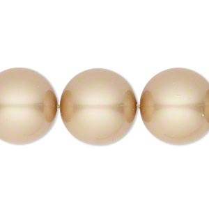 pearl, swarovski crystals, vintage gold, 16mm round with 1.3-1.5mm hole (5811). sold per pkg of 5.
