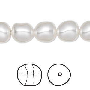 pearl, swarovski crystals, white, 10mm baroque (5840). sold per pkg of 10.
