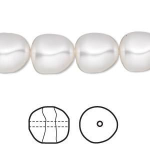 pearl, swarovski crystals, white, 12mm baroque (5840). sold per pkg of 10.