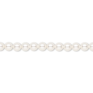 pearl, swarovski crystals, white, 4mm round (5810). sold per pkg of 500.