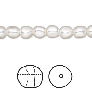 pearl, swarovski crystals, white, 6mm baroque (5840). sold per pkg of 250.