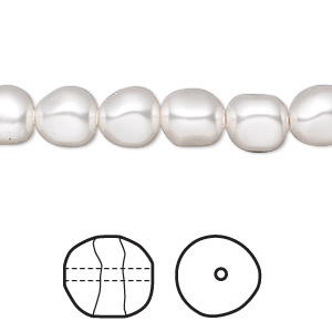 pearl, swarovski crystals, white, 8mm baroque (5840). sold per pkg of 10.