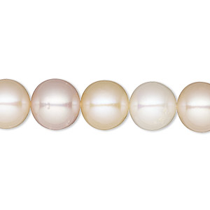 pearl, white lotus™, cultured freshwater (bleached), white / peach / mauve, 10-11mm semi-round, b- grade, mohs hardness 2-1/2 to 4. sold per 16-inch strand.