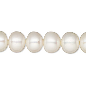 pearl, white lotus™, cultured freshwater (bleached), white, 10-11mm button, c grade, mohs hardness 2-1/2 to 4. sold per 16-inch strand.