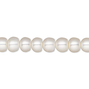 pearl, white lotus™, cultured freshwater (bleached), white, 7-7.5mm button, b grade. sold per 16-inch strand.