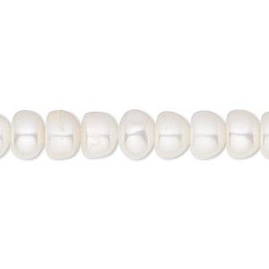 pearl, white lotus™, cultured freshwater (bleached), white, 8.5-9mm button, c grade, mohs hardness 2-1/2 to 4. sold per 16-inch strand.