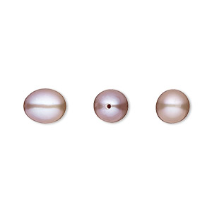pearl, white lotus™, cultured freshwater, mauve, 8x7mm half-drilled teardrop, b grade, mohs hardness 2-1/2 to 4. sold per pkg of 2.